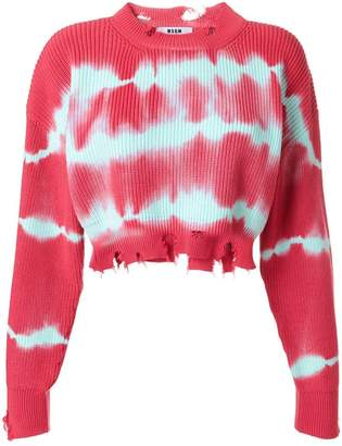 MSGM tie-dye raw edge cropped sweater