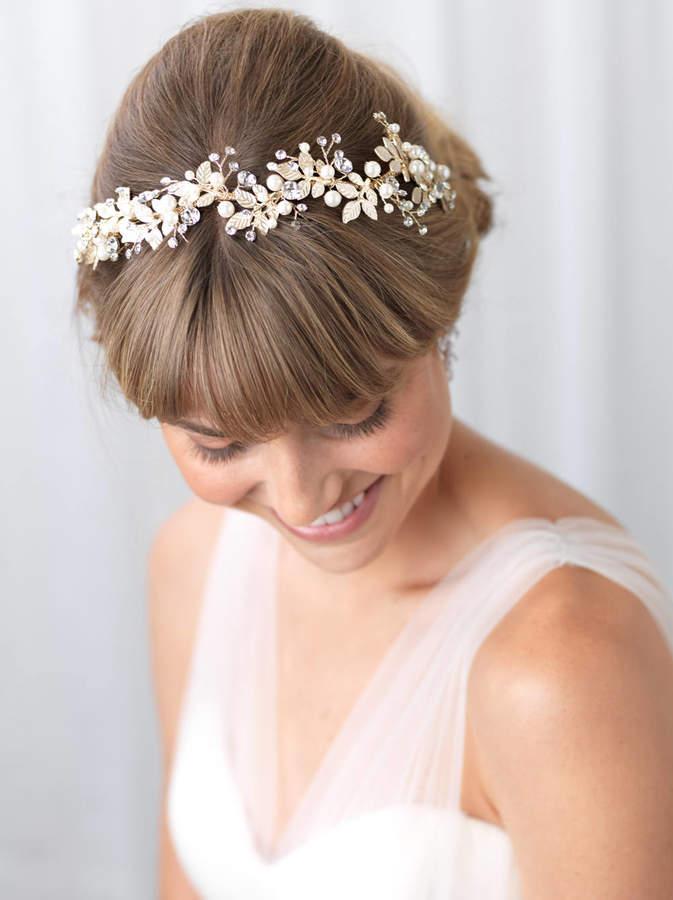 Etsy Gold Pearl Wedding Headband, Floral Bridal Headband, Rhinestone & Pearl Floral Headpiece, Bridal Acc