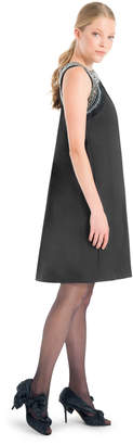 Max Studio heavy satin back drape embroidered dress