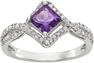 Sterling Square Shaped Gemstone & 1/4 ct Diamond Ring