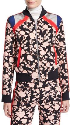 Pinko Floral Zip-Front Bomber Jacket