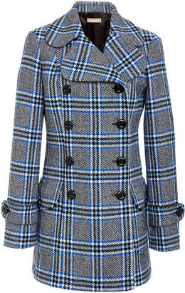 Michael Kors Double-Breasted Plaid Wool-Blend Coat