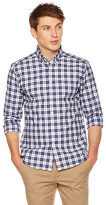 Clifton Heritage Men's Slim Fit Long-Sleeve Button-Down Casual Plaid Sanded Shirt M