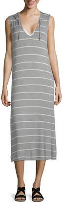 Porto Cruz Stripe Jersey Swimsuit Cover-Up Dress