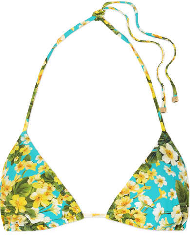 Floral-print Triangle Bikini Top - Light blue