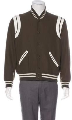 Saint Laurent 2017 Virgin Wool Teddy Varsity Jacket