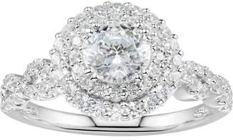 Swarovski Diamonluxe DiamonLuxe Sterling Silver 2 3/4 Carat T.W. Simulated Diamond Tiered Halo Ring
