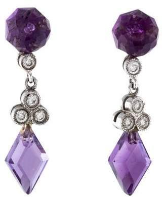 18K Diamond & Amethyst Drop Earrings