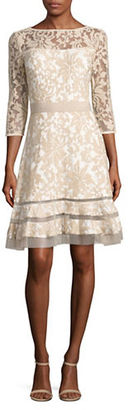 Tadashi Shoji Sheer-Sleeve Embroidered Dress $268 thestylecure.com