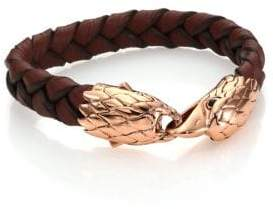 John Hardy Classic Chain Woven Leather& Bronze Eagle Bracelet