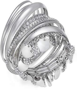 Thalia Sodi Faux-Snakeskin Pave Disc Bangle Bracelet Set