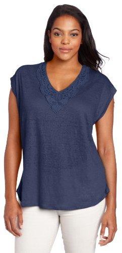 Lucky Brand Women's Plus-Size Aden Tie Back Top