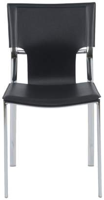 Euro Style Vinnie Side Chair, Gray With Chome Legs