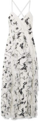 Alice + Olivia Alice Olivia - Jayda Lace-trimmed Ruffled Floral-print Silk Crepe De Chine Maxi Dress - White