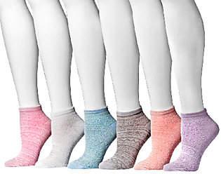 Muk Luks Women's Microfiber No Shows 6-Pair Sock Pack