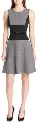 Tommy Hilfiger Tweed Scuba Fit--Flare Dress