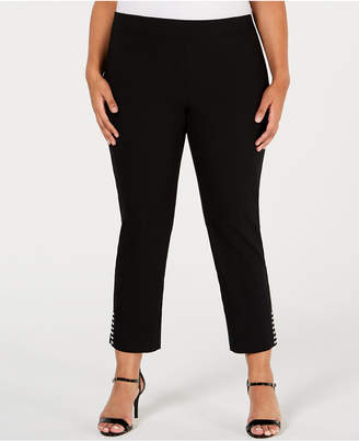 JM Collection Plus Size Pull-On Stud-Accented Ankle Pants