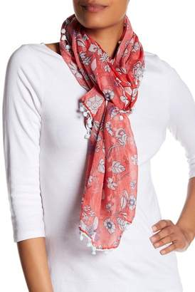 Roffe Accessories Floral Pompom Scarf