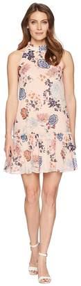 Vince Camuto Printed Chiffon Ruffle Neck Float Women's Dress