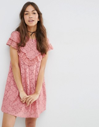 ASOS Lace Swing Dress with Ruffle Yoke $49 thestylecure.com