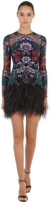 Murad Zuhair Embellished Sheer Dress With Feather Hem