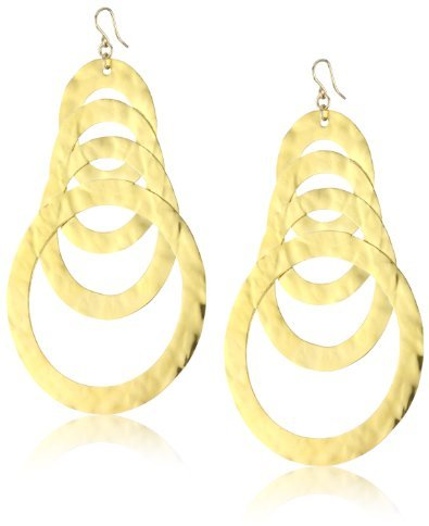 Devon Leigh 18k Gold Dipped Hammered Multi-Circle Earrings