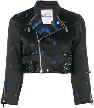 Comme des Garcons floral jacquard cropped biker jacket