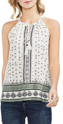 Vince Camuto Sleeveless Tie-Neck Printed Top