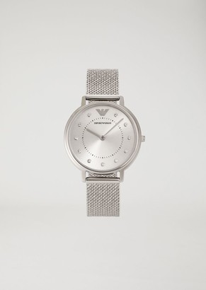 Emporio Armani Stainless Steel Analogue Clock With Crystal Hour Markers