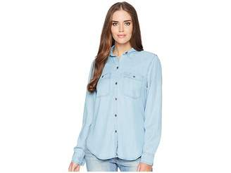 Chaps Chambray Long Sleeve Shirt Women's Long Sleeve Pullover