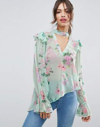 ASOS Floaty Blouse in Mint Floral with Neck Band $55 thestylecure.com