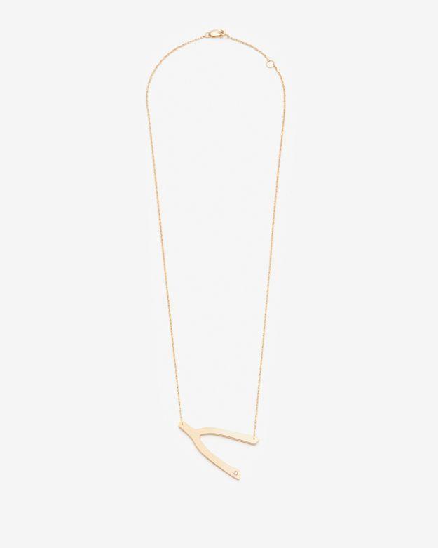 Jennifer Zeuner Jewelry Exclusive Wishbone Necklace With Diamond