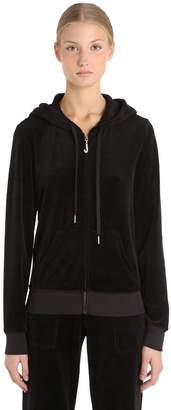 Juicy Couture Embellished Zip-Up Velour Sweatshirt