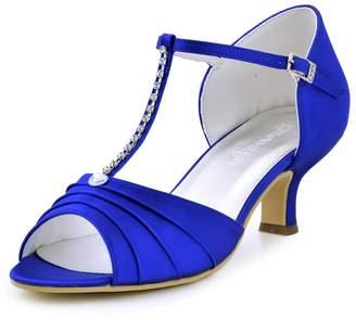 ElegantPark EL-035 Women Satin T-Strap Peep Toe Sandals Mid Heel Ruched Rhinestones Wedding Bridal Shoes US 10