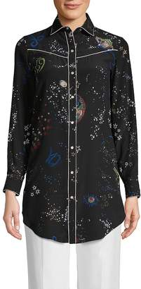 Valentino Women's Printed Silk Button-Down Shirt