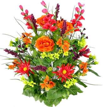 August Grove 30 Stems Artificial Dahlia, Morning Glory and Ranunculus and Blossom Fillers Mixed Bush