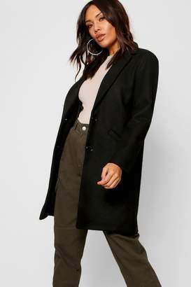 boohoo Tailored Boyfriend Wool Look Coat