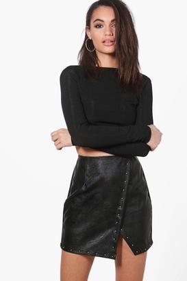 boohoo Aalia Leather Look Asymmetric Mini Skirt $26 thestylecure.com