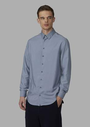 Giorgio Armani Regular-Fit Pure Silk Shirt With Small-Point Collar