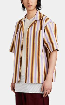 Marni Men's Striped Cotton Camp-Collar Shirt - Lilac