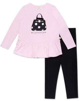 Kate Spade Handbag-Print Top W/ Ruffle-Trim Leggings, Size 12-24 Months