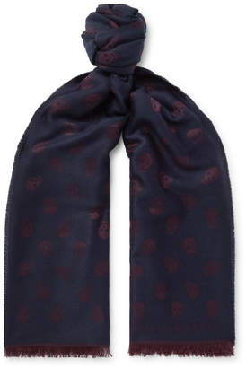 Alexander McQueen Fringed Wool and Silk-Blend Jacquard Scarf - Men - Blue