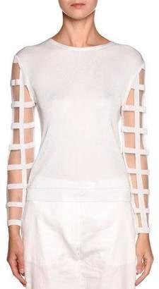 Giorgio Armani Windowpane-Sleeve Knit Sweater, White