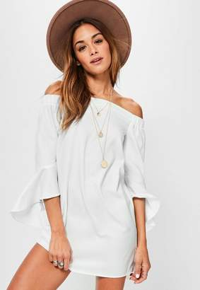 Missguided White Bardot Frill Sleeve Shift Dress