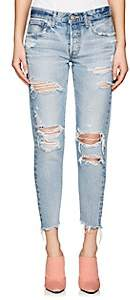 Moussy Women's Creston Distressed Tapered Jeans - Lt. Blue