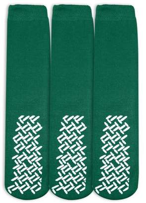 Nobles Health Care Product Solutions Nobles Assorted Anti Skid/ No Slip Hospital Gripper Socks, Great for adults, men, women. Designed for medical hospital patients but great for everyone (3 Pairs Green)