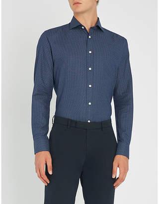 Smyth & Gibson Polka dot slim-fit brushed-cotton shirt