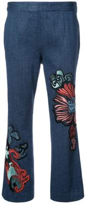 Josie Natori kick flare cropped jeans