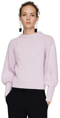 MANGO Mauve 'Arce' Puffed Long Sleeve Ribbed Sweater