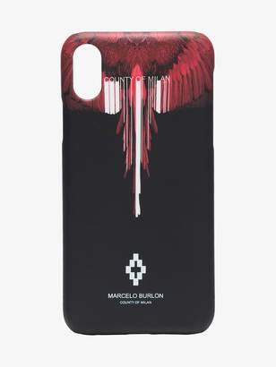 Marcelo Burlon County of Milan black and red Wings iPhone X case